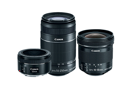 KIT 3 Lentes EF-S 55-250 IS + EF 50mm + EF-S 10-18mm